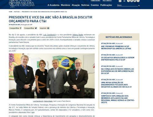 Academia Brasileira de Ciências: presidente e vice da ABC vão a Brasília discutir orçamento para CT&I